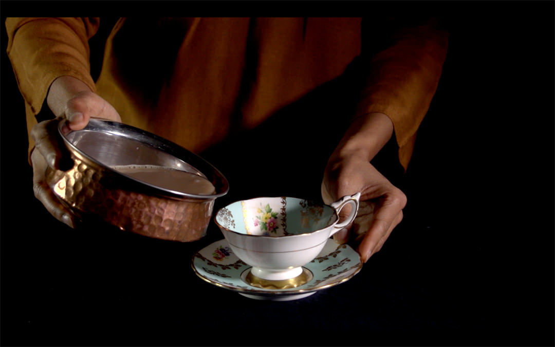 Farheen HaQ, Drinking from my mother's saucer, 2015, video still. Photo: Courtesy of the artist