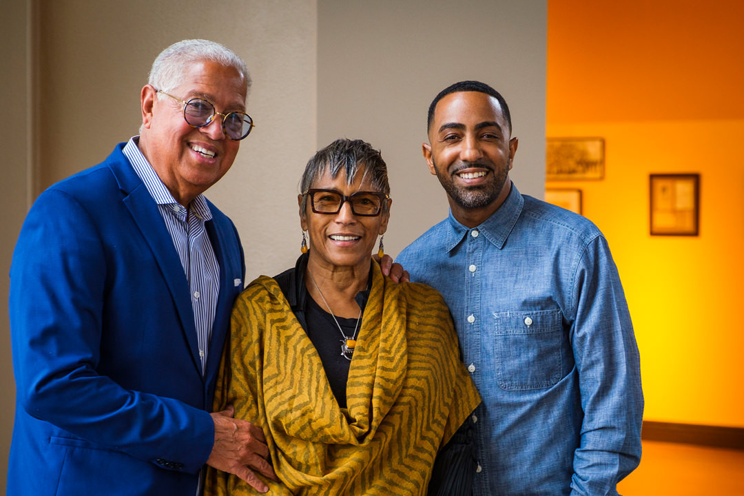 Bernard Kinsey, Shirley Pooler Kinsey and their son Khalil Kinsey, photographed during the installation of The Kinsey Collection exhibit at the African American Museum on Thursday, Sept. 19, 2019, in Dallas. The exhibit features African-American artwork and historical documents from the KinseyÕs personal collection. (Smiley N. Pool/The Dallas Morning News)