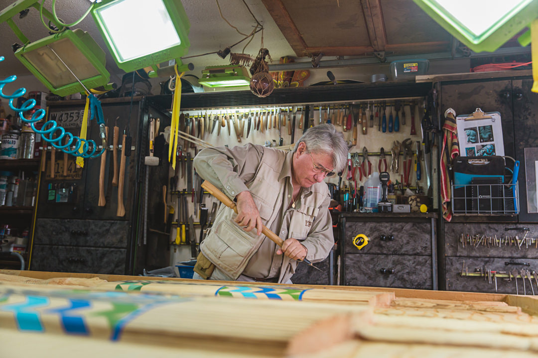 Wade Baker in his carving studio. Photo: Alison Boulier